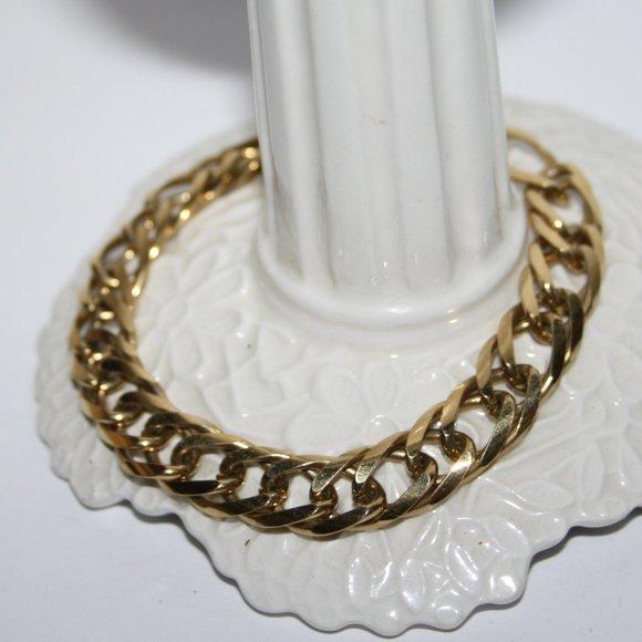 "Vintage Jewelry - Thick vintage gold chain bracelet 7.25"""
